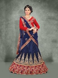 Navy Blue Chinon Lehenga Choli with Embroidery Work