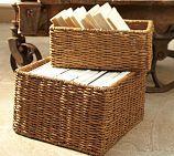 "Shelf Basket: 14.75"" wide x 8.25"" deep x 6"" high  Bench Basket: 15"" square, 9"" high"