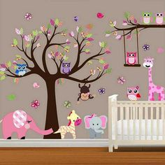 This pink Girls Wall Decal is woodland jungle design full of animals, trees and flowers! It can be used as a baby girls nursery wall decal, a kids wall decal or a classroom decal.