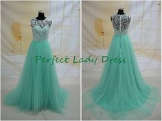 Product Name: QQ140 mint long evening dress evening wear,green cheap lace prom dresses,affordable wedding party dress ★ Dress Details: