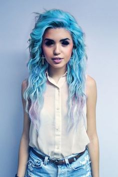 Blue hair fade. Love the contacts, but they must be huge and ever so awkward to get under one's eyelids...