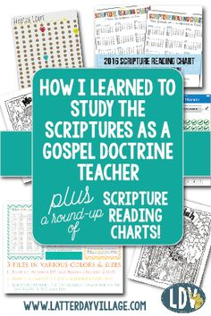 How I Learned to Study the Scriptures as a Gospel Doctrine Teacher plus a round-up of our favorite scripture reading charts! LatterdayVillage.com