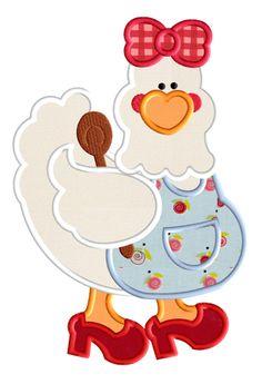 galinha avental