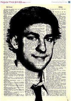 "Jim Halpert  - The Office Series -8x11"" Print on Vintage repurposed paper - dictionary print"