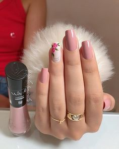 trendy Ideas for nails sencillas largas Classy Nails, Stylish Nails, Pretty Nail Colors, Pretty Nails, Rose Nails, Gel Nails, Really Cute Nails, Elegant Nail Art, Red Acrylic Nails