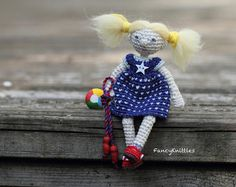 Crochet doll collectable miniature doll with от FancyKnittles