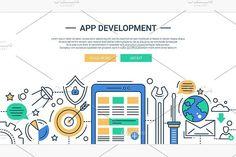 App Development Illustration Header. UI Elements