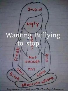 #STOPBULLYING please. I hate it. I hear it every day and I want to cry. I don't get it in my face. I just hear people calling others that, but I am pretty sure they talk begin my back. Everyone does, but please Ladies, repin. Stop the hate and bullying for all of our sake. -Brianna P