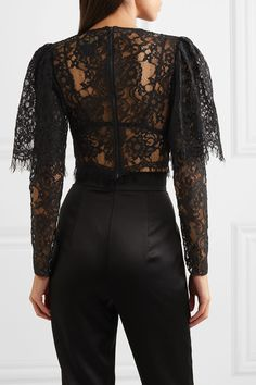 Black lace Zip fastening through back cotton, viscose, nylon Dry clean Black Lace Tops, Lace Crop Tops, Black Laces, Nylons, Formal Crop Top, Black Crochet Top, Cute Spring Outfits, Lace Outfit, Classy Dress