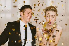 gold confetti makes for fun + playful wedding portraits!