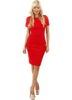 Goddess London Scalloped Lace Sleeve Red Bengaline Pencil Dress  #fashion #lacedress #pencildress