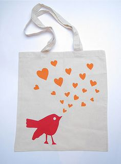 Love Bird Valentine Tote by Helen Rawlinson