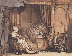 Rembrandt, Saskia in bed, 1640