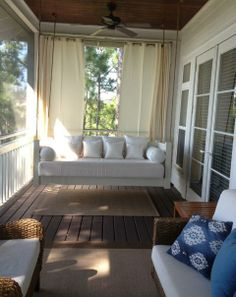 Hanging Porch Beds, Swinging Porch Beds  like exterior curtain behind swing for light control