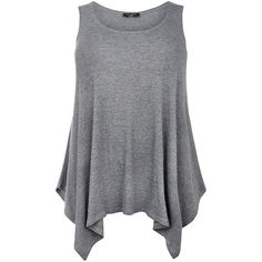 Plus Size Dark Grey Ribbed Hanky Hem Vest ($16) ❤ liked on Polyvore featuring tops, tank tops, shirts, tanks, plus size, charcoal, women plus size tops, scoop neck shirt, womens plus size tank tops and plus size sleeveless shirts