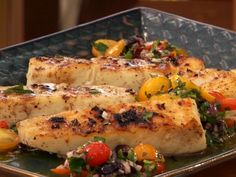 Halibut with Charred Garlic Oil and Tomato Relish Recipe : Bobby Flay : Food Network - FoodNetwork.com