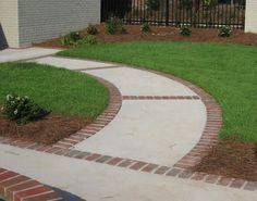 The Lovely Ideas For Brick Sidewalk Design 17 Best Ideas About Brick Walkway On Front Yard Walkway, Brick Walkway, Concrete Walkway, Cement Patio, Front Yard Landscaping, Walkway Ideas, Landscaping Ideas, Path Ideas, Driveway Paving