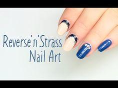 nail art - reverse french con strass  #nails #nailart #tutorialnailart
