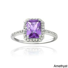 Glitzy Rocks Sterling Silver Emerald-cut Gemstone and Cubic Zirconia Ring