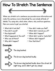 Stretch The Sentence Writing Activities - Free Sample! by Rachel K Resources Book Writing Tips, English Writing Skills, Paragraph Writing, Narrative Writing, Persuasive Writing, Writing Words, Writing Lessons, Kids Writing, Teaching Writing