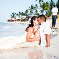 Smokin' hot trash the dress session after Punta Cana destination wedding on the beach in the Dominican Republic.
