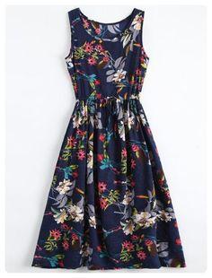 Midi Floral Drawstring Sleevelss Dress (Floral)