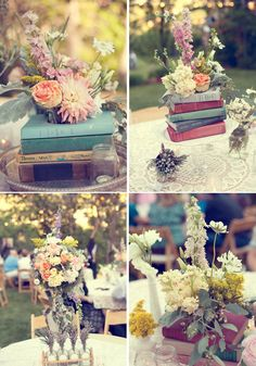 Love books in centerpieces.