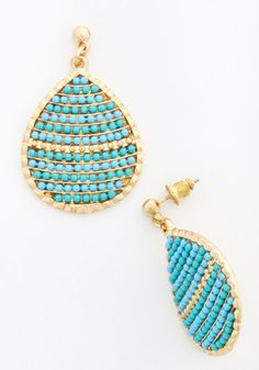 Little Bit of Brightness Earrings. When youre looking to add a pop of color to your day, reach for these beaded earrings! #blue #modcloth