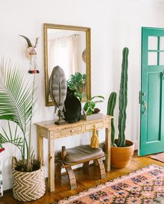 Boho entryway with plants