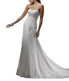 GEORGE BRIDE Slight Sweetheart Chiffon Chapel Train Beach Wedding Dress With Lace Bodice [ Sale: $159.00 ]