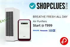 Shopclues is offering Air Purifiers of Philips, Panasonic, Kent, Crusaders, Eureka Forbes and more brands and Price Starts @ Rs.999. Efficiently remove 99.9% of air pollutants present in indoor air, making it healthy & breathable. Beneficial for people suffering from asthma, respiratory problems & allergies.  http://www.paisebachaoindia.com/air-purifiers-philips-panasonic-price-starts-rs-999-shopclues/