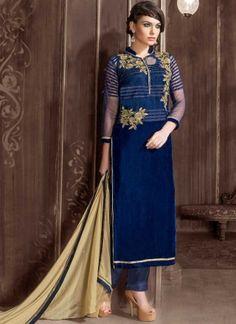 Blue Beige Patch Work Georgette Net Designer Pakistani Salwar Suit #Anarkali #Churidar #Pakistani #Suit #Salwar #Bollywood http://www.angelnx.com/Salwar-Kameez