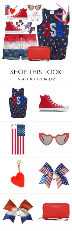 """""""fourthofjuly"""" by pesanjsp ❤ liked on Polyvore featuring Converse, Yves Saint Laurent, Anya Hindmarch, MICHAEL Michael Kors, Lapcos and fourthofjuly"""