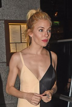 Sienna Miller whisked her blonde layers up, with a swipe of ruby lipstick in a Céline slip dress