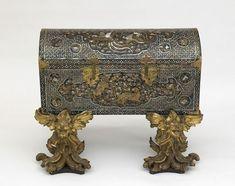 Chest with later two-part gilded stand. early 17th century. Japanese. From the collection of Freer and Sackler Galleries