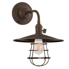 Heirloom Old Bronze One Light Small Wall Sconce With Flat Metal Shade And Wire Guard Hudso
