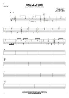 Hallelujah sheet music by Leonard Cohen. From album Various Positions (1984). Part: Tablature (rhythm values) for guitar - accompaniment.