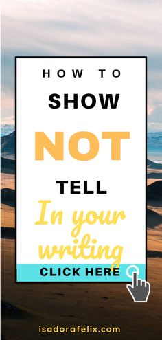Show Not Tell Examples in Writing: How to Show and Not Tell. I bet, as a writer, you read everywhere that you must show and not tell. Writing A Book Outline, Book Writing Tips, Writing Process, Writing Help, Writing Skills, Writing Ideas, Writing Memes, Writing Exercises, Writing Challenge