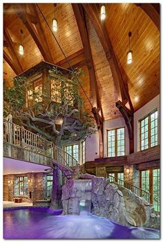 Lakefront Dream Home Lists With Indoor Tree House! (PHOTOS) homes dream house Indoor Tree House, Indoor Trees, Future House, Building A Treehouse, Treehouse Kids, Dream Pools, Pool Houses, Indoor Pools In Houses, House Goals