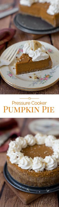 """This Pressure Cooker Pumpkin Pie has a classic pumpkin pie filling but in a crumbly Pecan Sandies cookie crust, and it's """"baked"""" in the electric pressure cooker instead of the oven."""