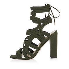 cc11d2dfd7d9 River Island Khaki braided cage heel sandals ( 130) ❤ liked on Polyvore  featuring shoes