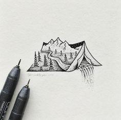 Minimal Illustrations Combine Landscapes