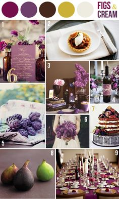 wedding color combination: figs and cream: purples, brown and green