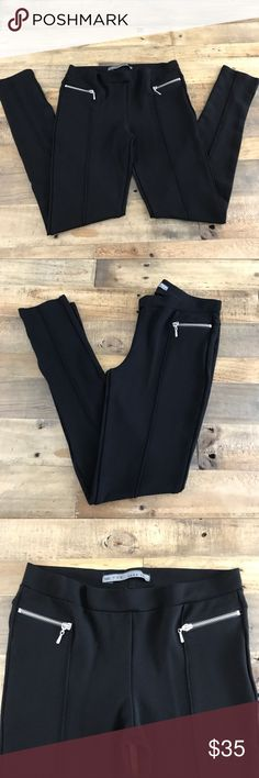 """Zara Basic Black Leggings Pants with Zippers Large Excellent used condition! Zippers are decorative and not actual pockets. These are stretchy. Waist is 13"""" flat, rise is 8.5"""", inseam is 29"""", bottom of leg opening is 4.5"""" flat. Zara Pants Leggings"""