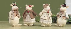 "RAZ 6"" Mouse Christmas Ornament Set of 4  2014 Owl Be Home for Christmas Collection  #trendytree #raz"