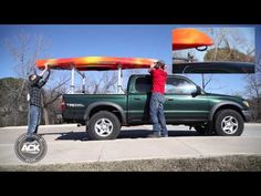 Transporting a kayak can be a little sketchy. We've seen improperly secured kayaks and canoes tumble to the road from a speeding car more times tha. Kayak Rack For Truck, Truck Roof Rack, Kayak Roof Rack, Canoe And Kayak, Kayak Fishing, Fishing Stuff, Kayaking Gear, Shed Storage, Wedding Humor