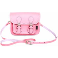 Zatchels - Pastel Pink Micro Satchel ($71) ❤ liked on Polyvore featuring bags, handbags, genuine leather handbags, pink handbags, leather cross body purse, pink leather purse and leather purses