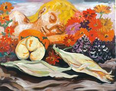 """Carlo Levi, oil painting - 1966 """"Natura morta con volto di donna"""""""