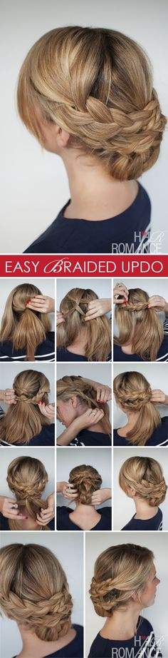 Hairstyle how to - Hair Romance easy braided updo tutorial Easy Braided Updo, Braided Hairstyles Updo, Up Hairstyles, Pretty Hairstyles, Pinterest Hairstyles, Braided Crown, Simple Hairstyles, Hairdos, Wedding Hairstyles