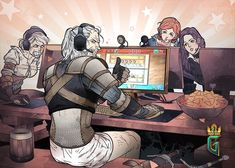 Witchers playing gwent in the modern ages.